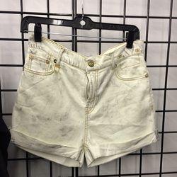 White denim shorts, $40