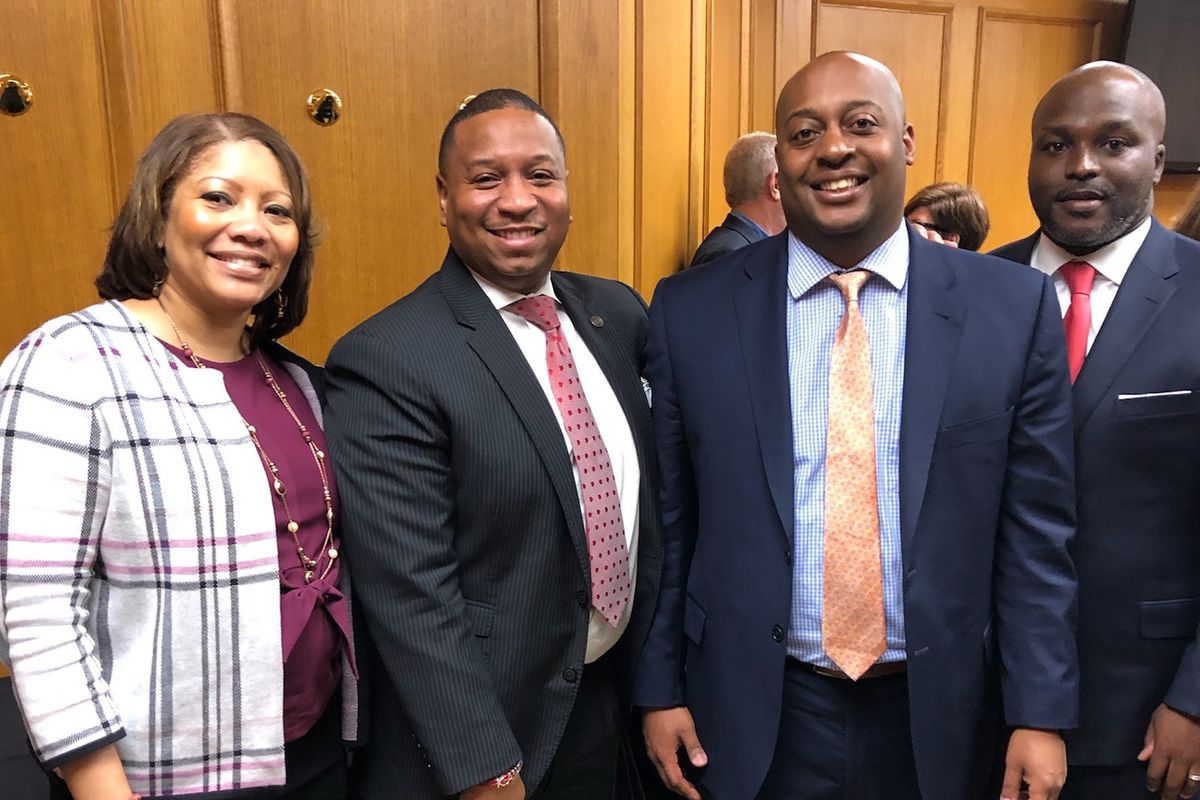 Superintendents or interim directors from four districts attend an April 16 meeting at the state Capitol with Gov. Bill Lee to discuss his education savings plan. From left: Adrienne Battle of Nashville, Joris Ray from Memphis, Eric Jones from Jackson, and Bryan Johnson of Chattanooga (Photo courtesy of Shelby County Schools)