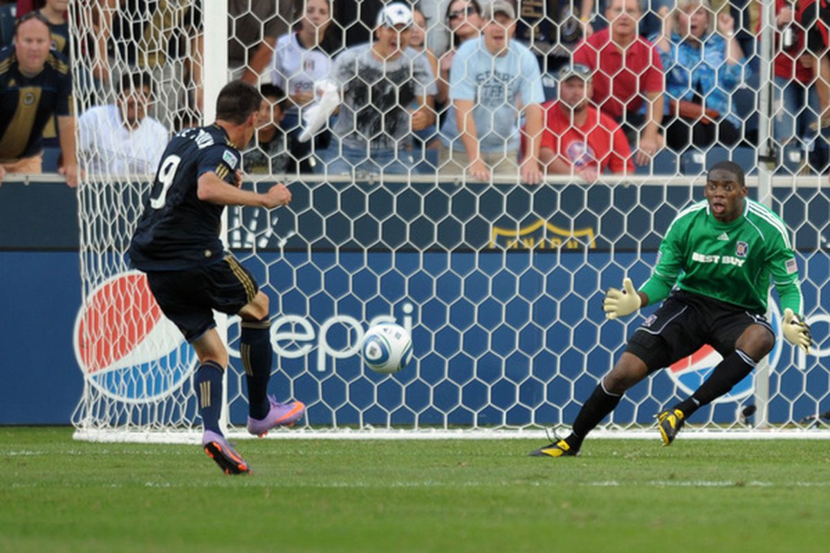 CHESTER PA - SEPTEMBER 11: Sebastien Le Toux #9 of the Philadelphia Union shoots and scores on goalkeeper Sean Johnson #25 of the Chicago Fire at PPL Park on September 11 2010 in Chester Pennsylvania. (Photo by Drew Hallowell/Getty Images)