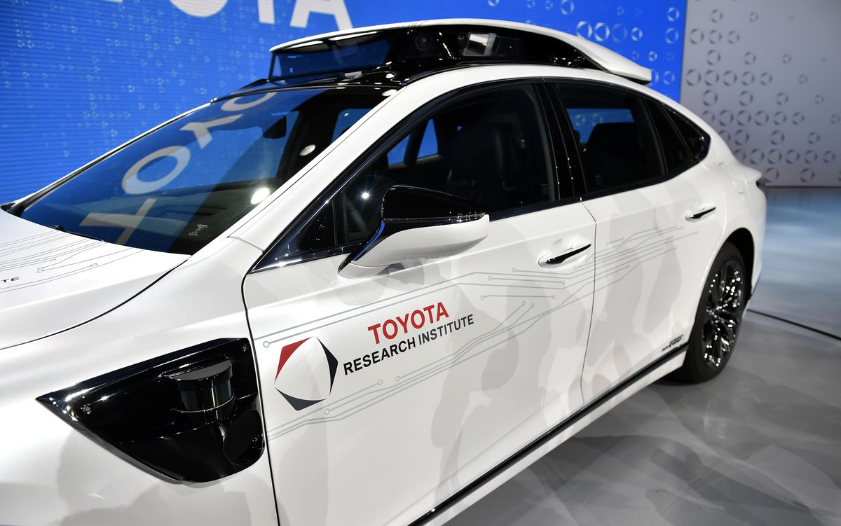 A Toyota Research Institute P4 semi-autonomous prototype is displayed during a Toyota press event for the Consumer Electronics Show 2019 in Las Vegas. | David Becker/Getty Images
