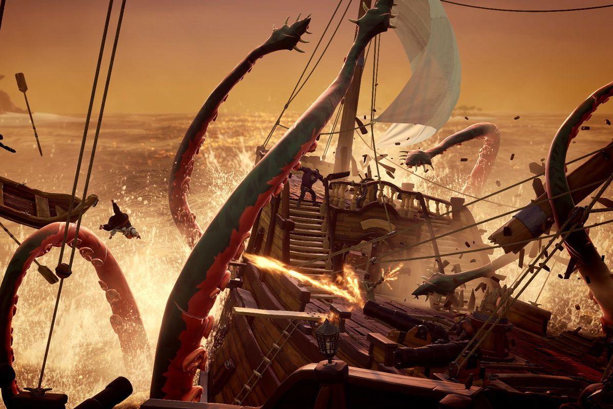 A kraken attacks a player controlled galleon