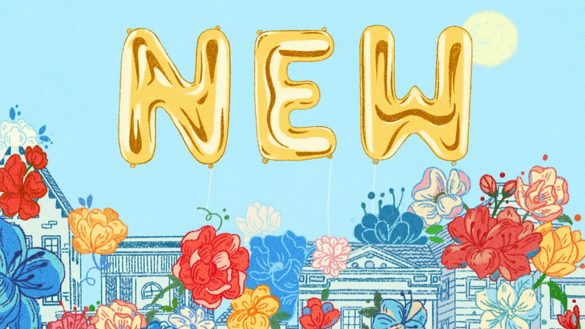 """An illustration of flowers growing over buildings, with the word """"new"""" in balloon letters in the sky above them."""