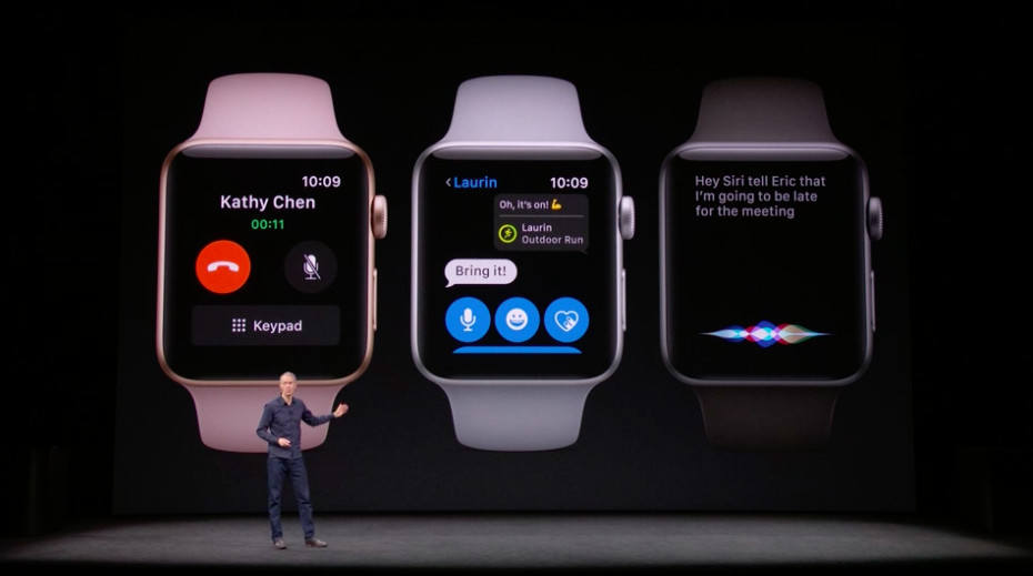 Three Apple Watch screens showing how to use the cellular connection and how to access Siri.