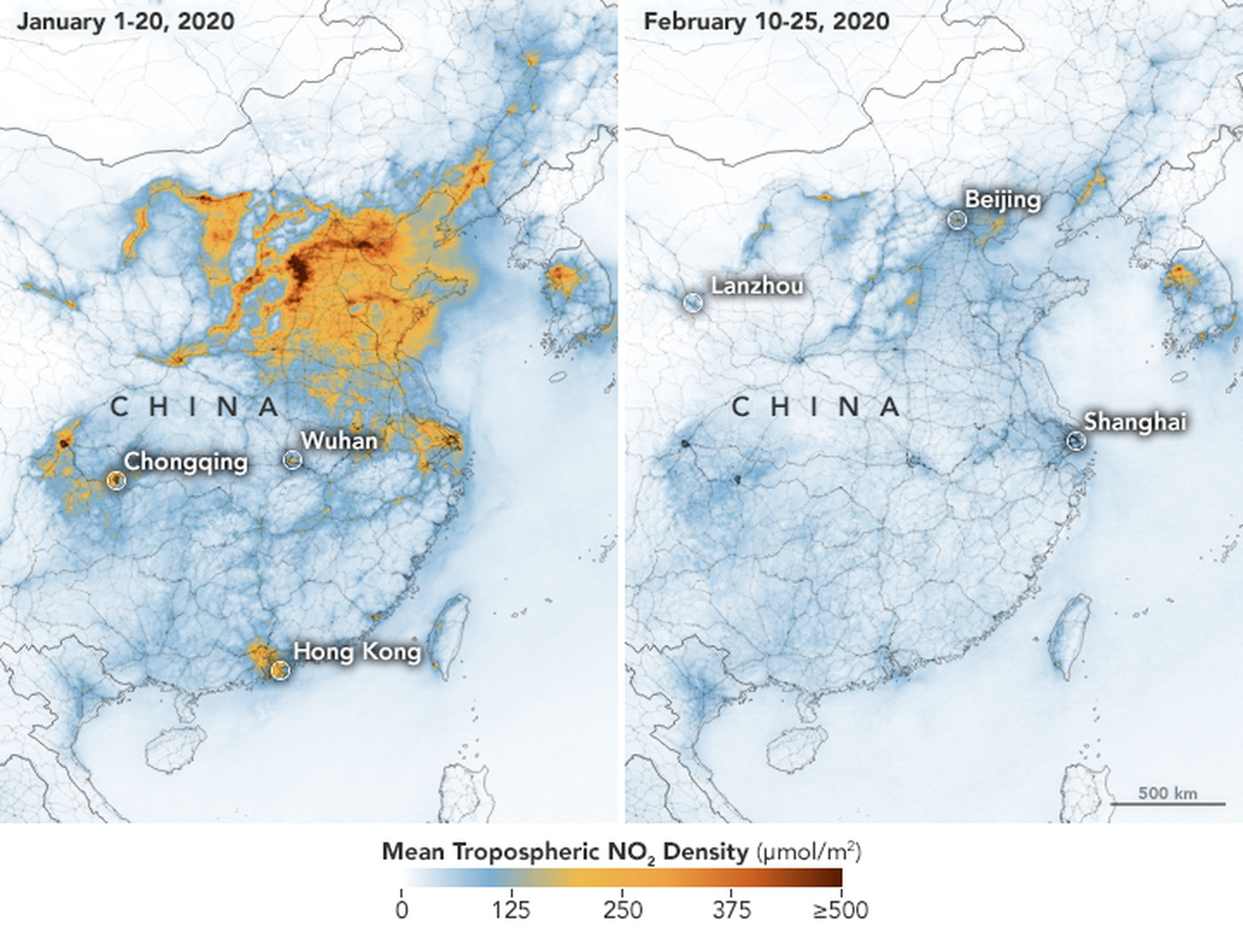china air quality map Maps Show Drastic Drop In China S Air Pollution After Coronavirus china air quality map