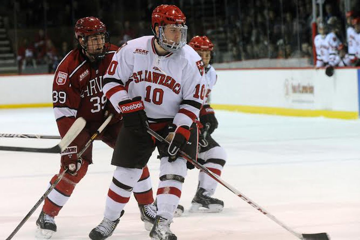 St. Lawrence senior Greg Carey had a goal and three assists in his team's 5-2 victory at North Dakota