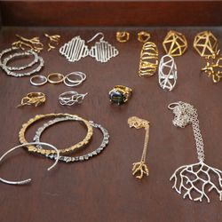 An assortment of Misa's designs pulled by a stylist for their celeb client.