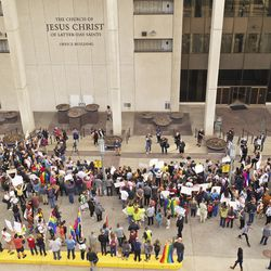 LGBT supporters gather outside The Church of Jesus Christ of Latter-day Saints'Church Office Building in Salt Lake City on Friday, March 6, 2020,during a protest of the honor code at the faith's universities.