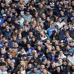 BYU fans cheer during an NCAA college football game against Boise State at LaVell Edwards Stadium in Provo on Saturday, Oct. 9, 2021.