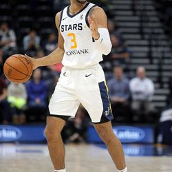 The Salt Lake City Stars' Naz Mitrou-Long (No. 3) plays in an NBA G league basketball game against the Rio Grande Valley Vipers at the Vivint Smart Home Arena in Salt Lake City on Monday, Nov. 27, 2017. His former Iowa State teammate Monte Morris plays for the Vipers.