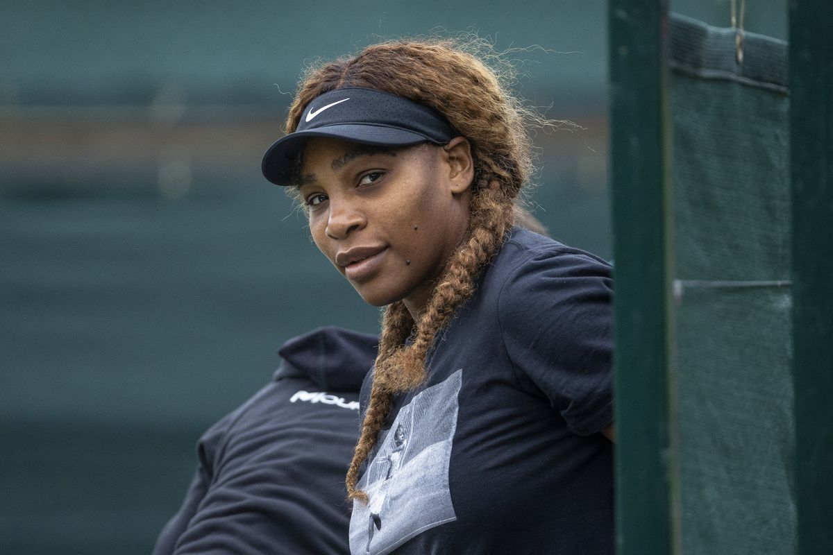 Serena Williams of the United States attends a practice session ahead of The Championships - Wimbledon 2021 at All England Lawn Tennis and Croquet Club on June 27, 2021 in London, England.
