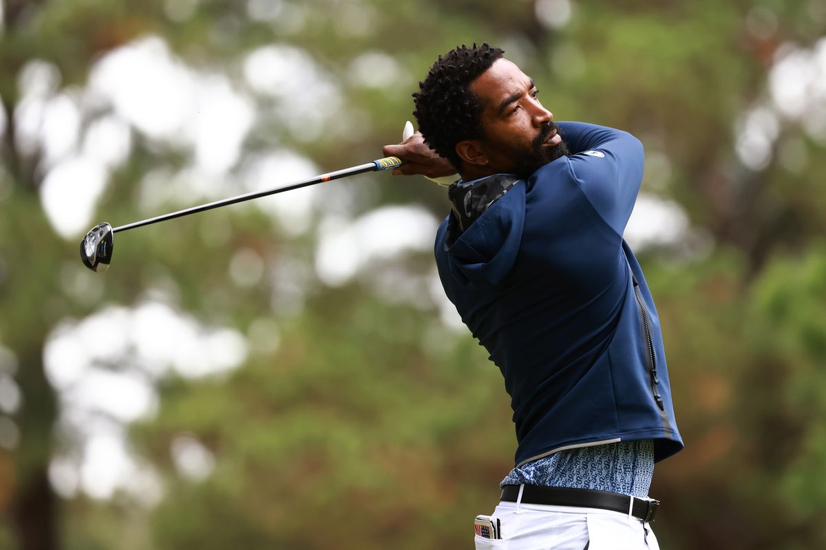 J.R. Smith of the North Carolina A&T Aggies hits his tee shot on the 9th hole during the Phoenix Invitational at Alamance Country Club on October 11, 2021 in Burlington, North Carolina.