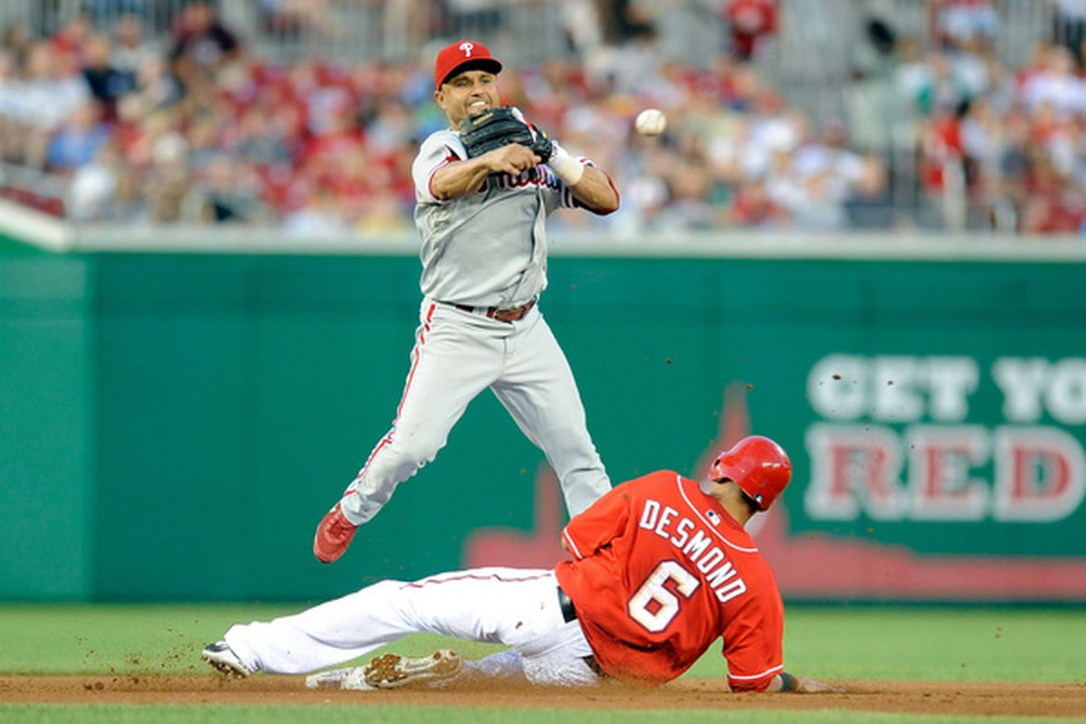 WASHINGTON - JULY 30:  Placido Polanco #27 of the Philadelphia Phillies forces out Ian Desmond #6 of the Washington Nationals to start a double play at Nationals Park on July 30 2010 in Washington DC.  (Photo by Greg Fiume/Getty Images)