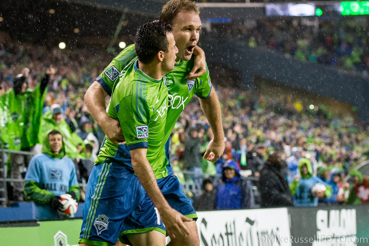 Dynamic duo: Marco Pappa and Chad Marshall team up to lead Sounders FC to come-from-behind victory.