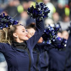 BYU cheerleaders perform during an NCAA college football game against Boise State at LaVell Edwards Stadium in Provo on Saturday, Oct. 9, 2021.