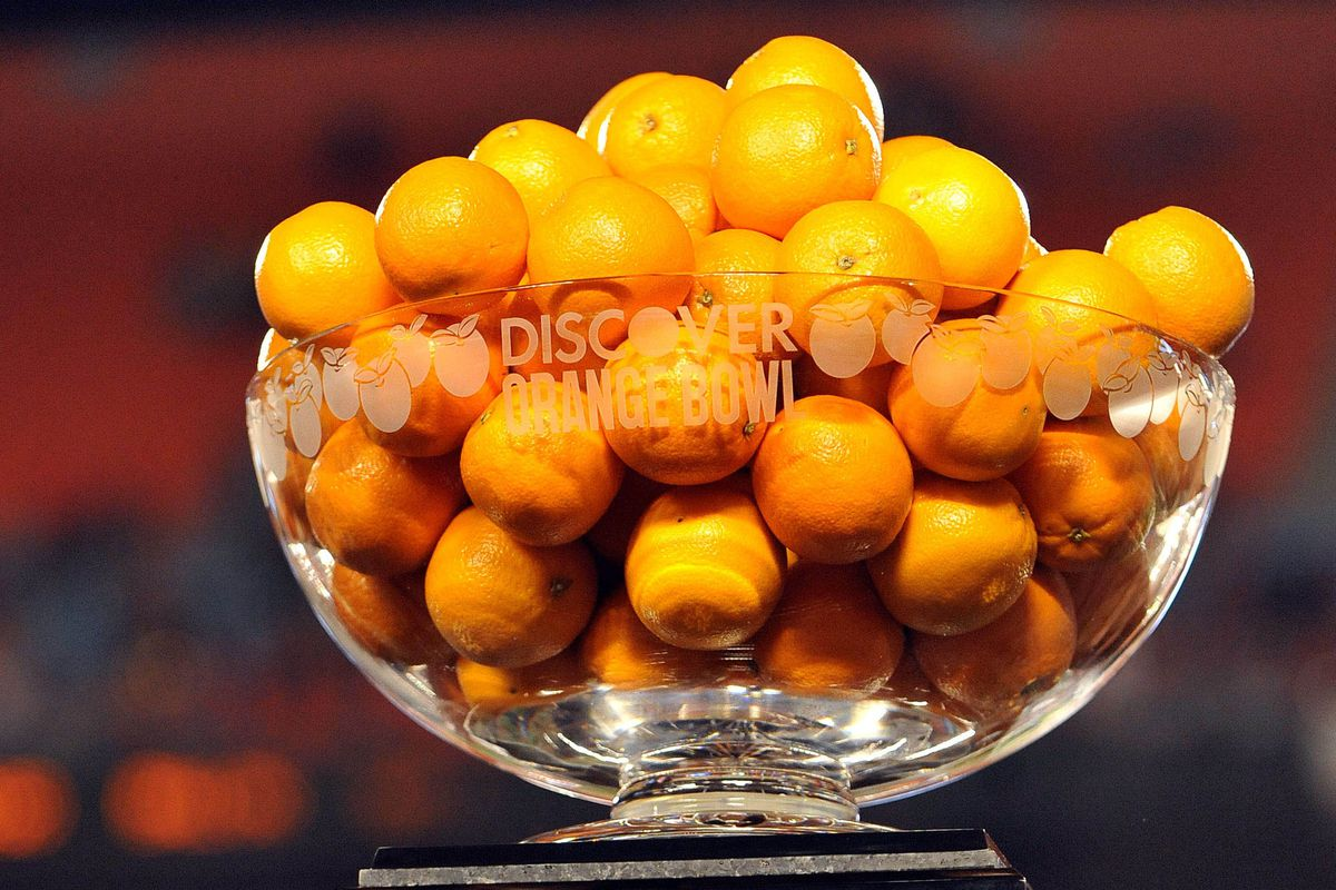 The traditional Orange Bowl trophy