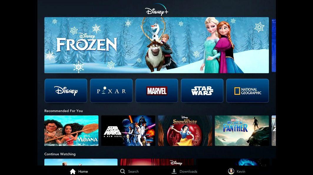 Disney Plus prototype home menu