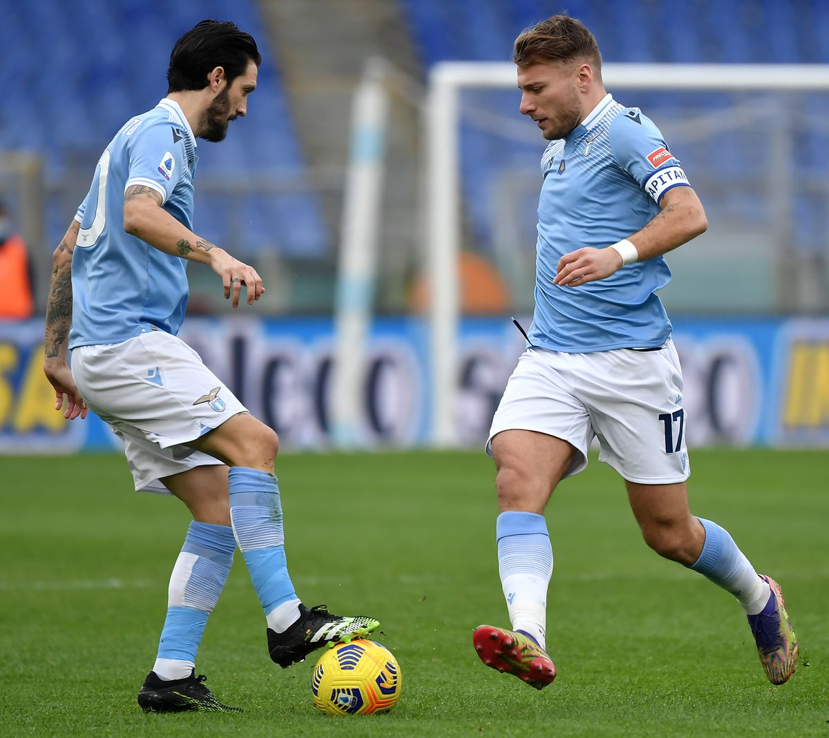 Luis Alberto and Ciro Immobile of SS Lazio in action during...