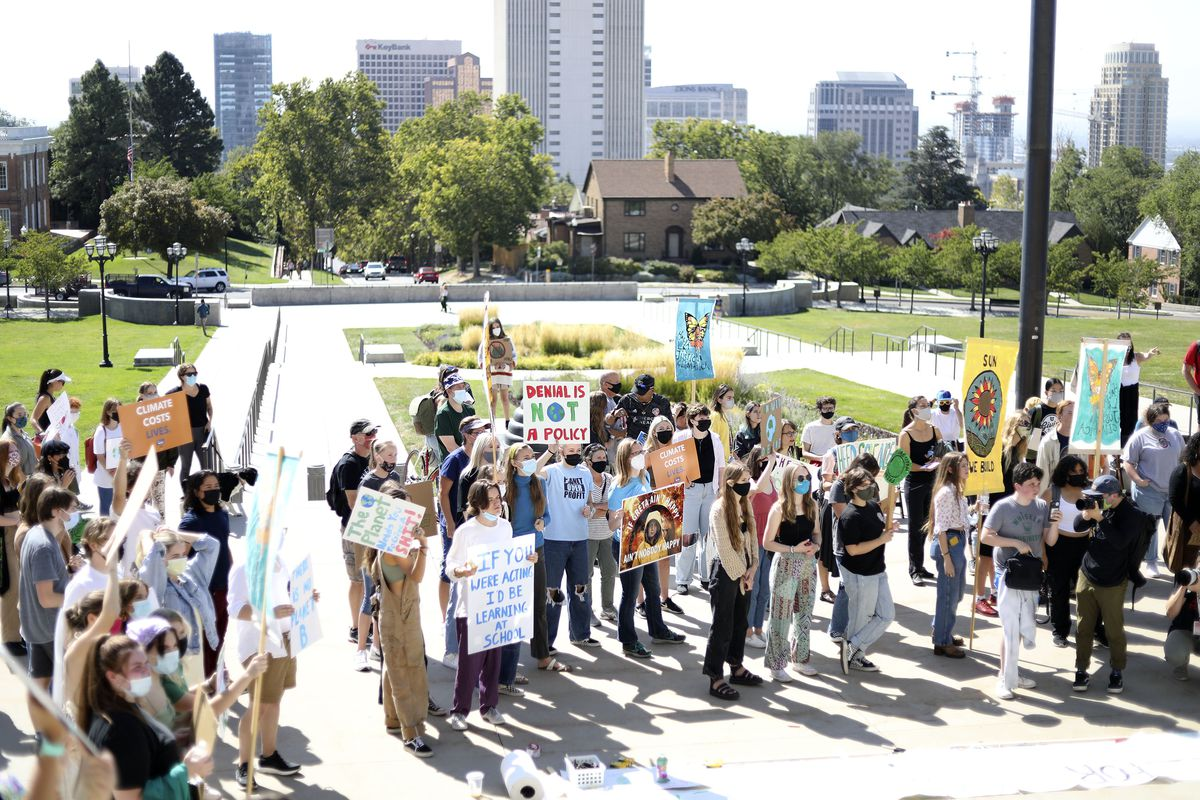 Supporters of Fridays for Future gather for a Global Climate Strike at the Capitol in Salt Lake City on Friday. Fridays for Future is a youth-led and -organized global climate strike movement that started in August 2018, when 15-year-old Greta Thunberg began a school strike for climate.