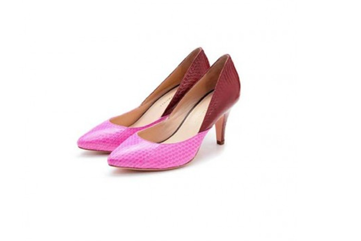 """<a href=""""http://hampdenclothing.com/sale?product_id=383"""">Loeffler Randall Hot Pink and Maroon Mid Heel Pump</a>, $94 (were $375)"""