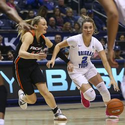 BYU Cougars guard Shaylee Gonzales (2) dribbles the ball against the Pacific Tigers at the Marriott Center in Provo on Saturday, Feb. 9, 2019.