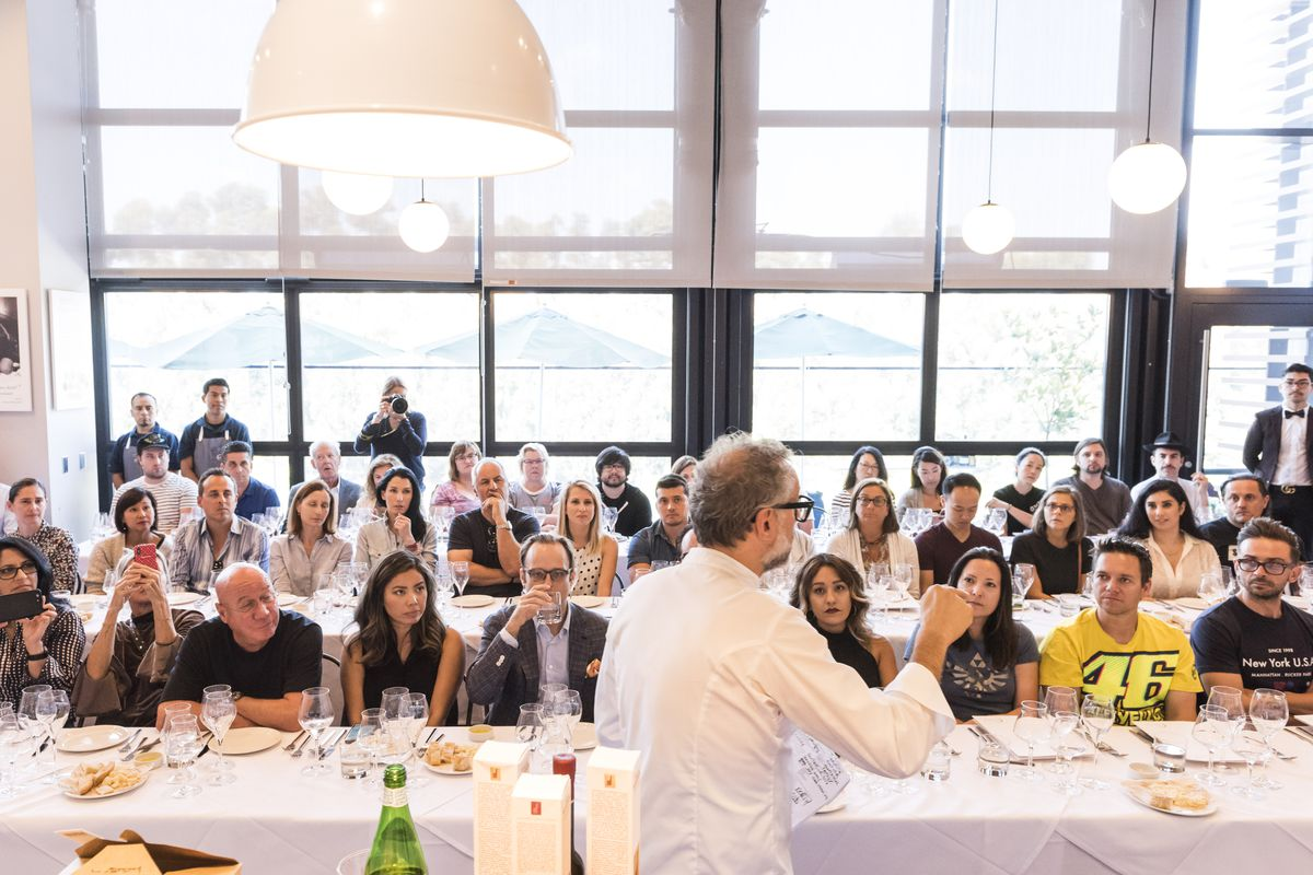Massimo Bottura teaching a masterclass workshop at Eataly, Century City