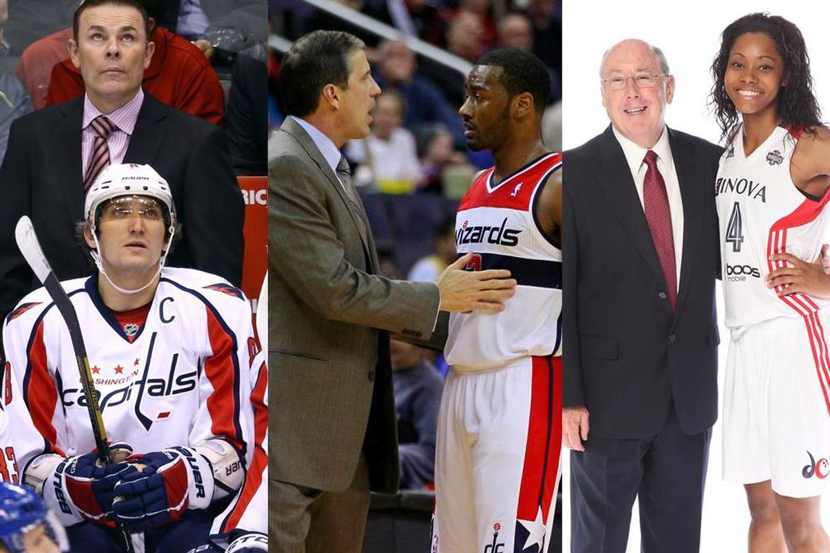 Here are Adam Oates and Alex Ovechkin of the Capitals (L); Randy Wittman and John Wall of the Wizards (M); and Mike Thibault and Tayler Hill of the Mystics (R).