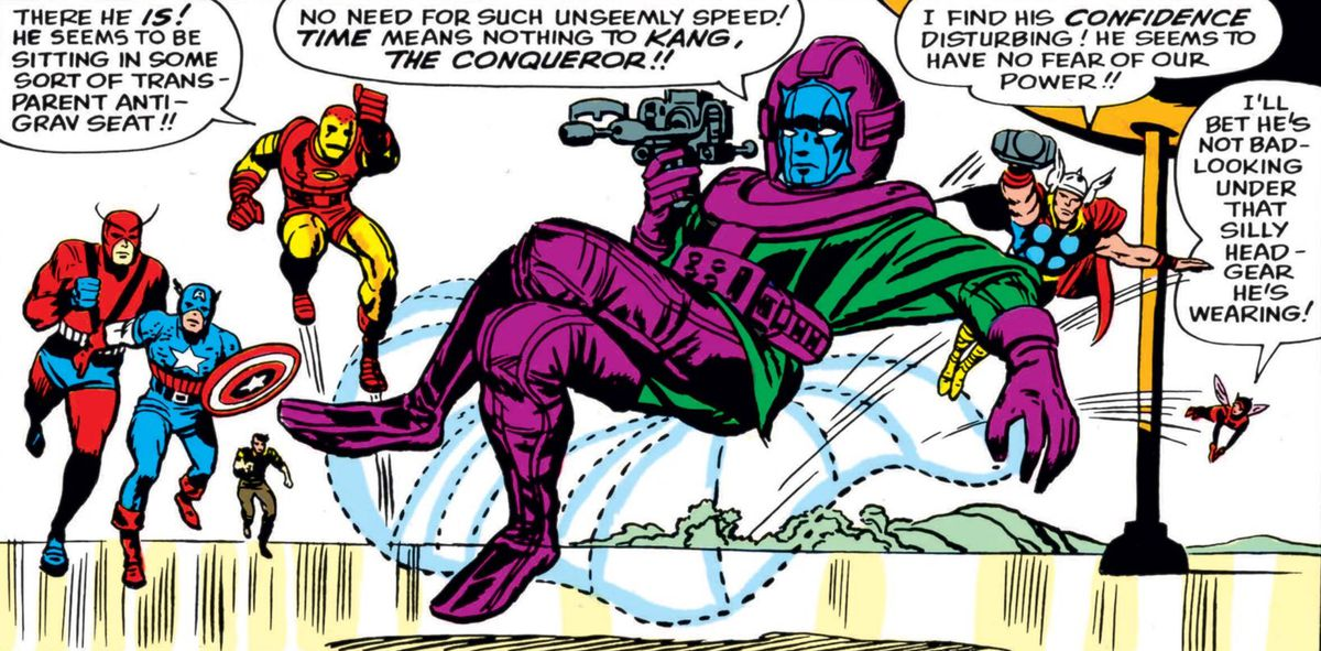 """The Avengers confront Kang the Conqueror for the first time. Kang is dressed in a green tunic and purple thigh-high boots and cuffed gloves, belted with a purple harness. His face is covered by a purple helmet with an impassive blue mask, as he looks looks at a strange technological doohickey and lounges on a transparent floating beanbag chair. """"No need for such unseemly speed!"""" he says, """"Time means nothing to Kang, the Conqueror!!"""" in Avengers #8 (1964)."""