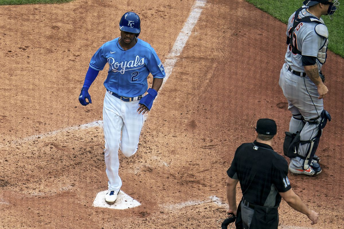Michael A. Taylor #2 of the Kansas City Royals scores against the Detroit Tigers in the fourth inning at Kauffman Stadium on May 22, 2021 in Kansas City, Missouri.