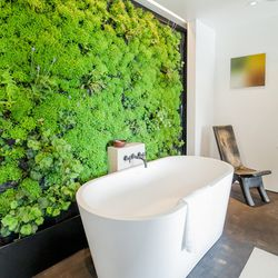 """One of the highlights of this year's Showcase House was the living wall installed behind the bathtub. [Photo by <a href=""""http://www.patriciachangphotography.com/"""">Patricia Chang</a>]"""