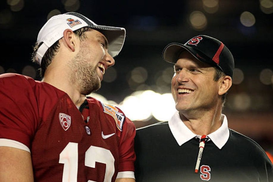 Andrew Luck and Jim Harbaugh made quite a team at Stanford. (Getty Images)