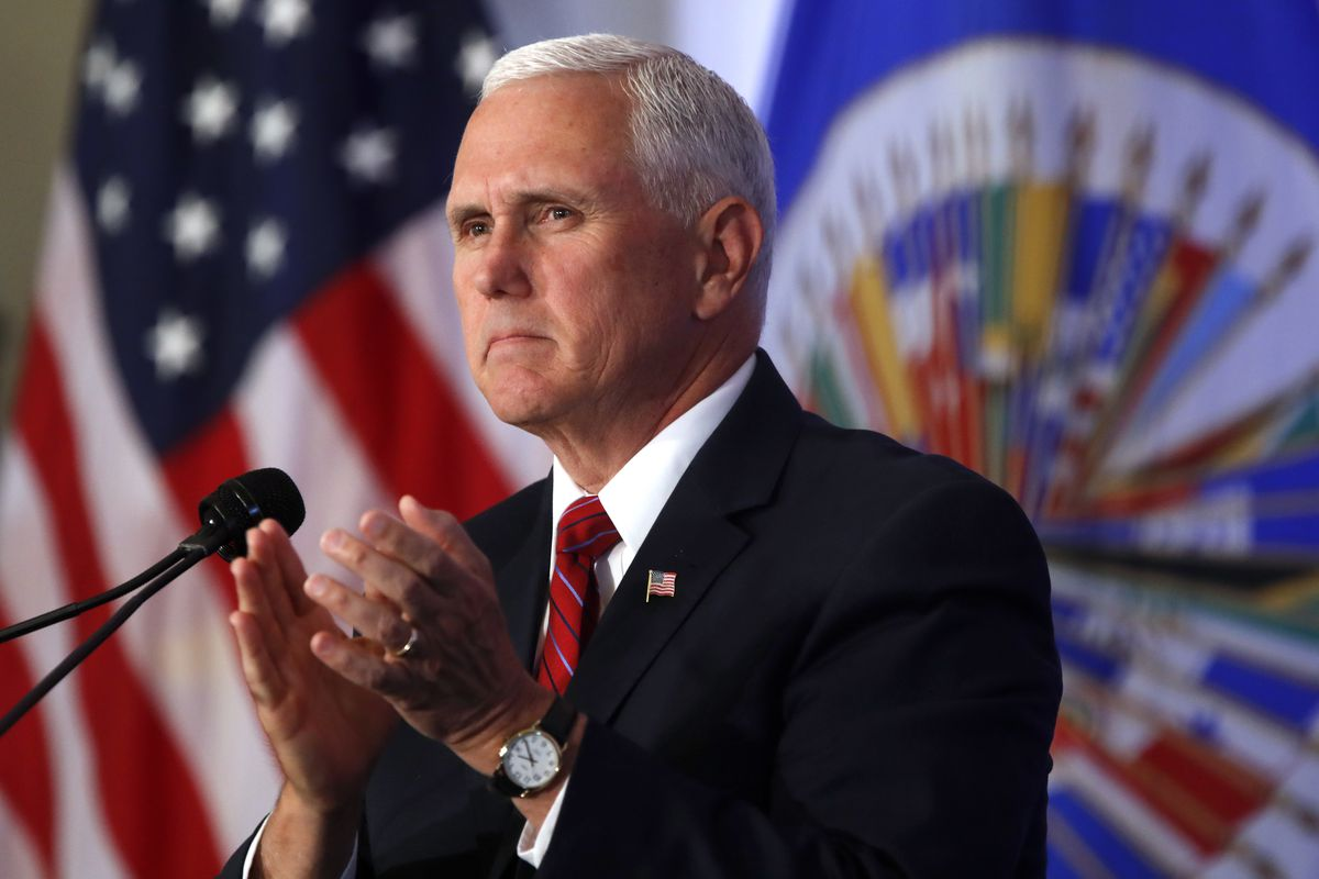 Vice President Mike Pence applauds during a speech at the Organization of American States, Monday, May 7, 2018 in Washington.