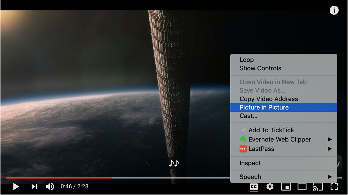 Right-click twice in the YouTube video to get the Picture in Picture menu selection.