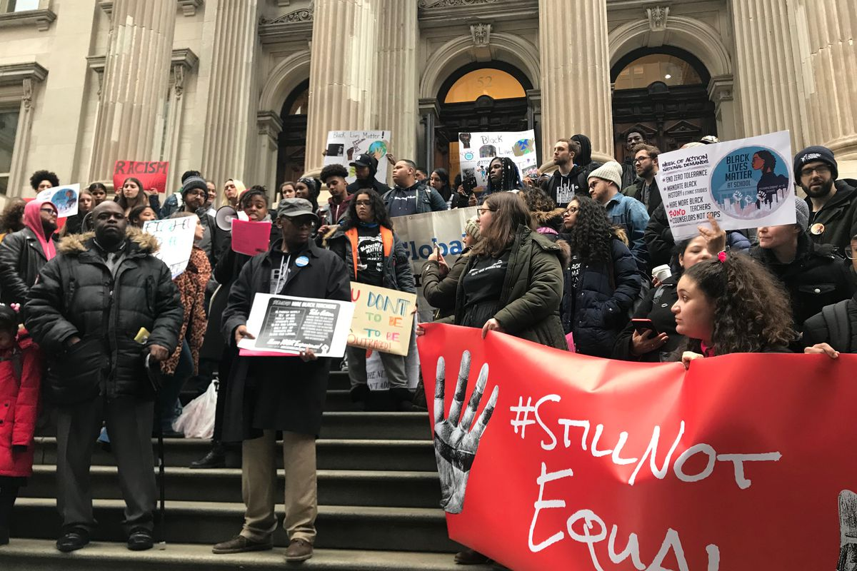 Students, parents, and activists at a Black Lives Matter at School rally in New York City on February 7, 2019