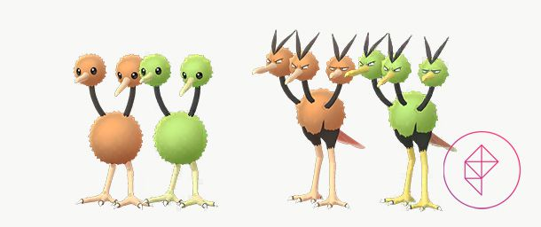 Normal and Shiny Doduo and Dodrio. Instead of brown, the Shiny forms are a lime green.