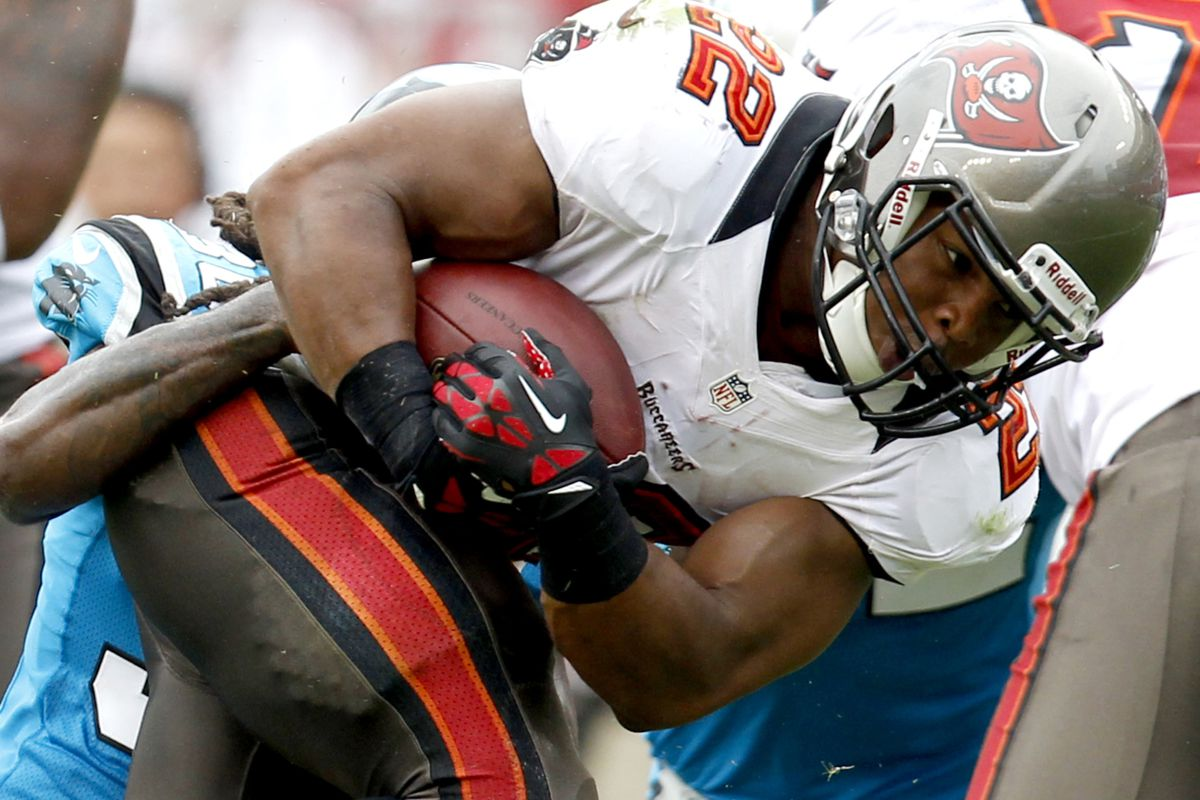 Sept. 9, 2012; Tampa FL, USA; Tampa Bay Buccaneers running back Doug Martin (22) runs up field against the Carolina Panthers during the first half at Raymond James Stadium. The Buccaneers defeated the Panthers 16-10. Matt Stamey-US PRESSWIRE