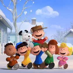 """Charlie Brown, Snoopy and the Peanuts gang (Franklin, Lucy, Linus, Peppermint Patty and Sally) revel in a snow day in """"The Peanuts Movie."""""""