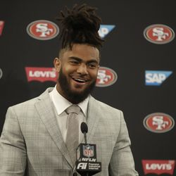 San Francisco 49ers middle linebacker Fred Warner speaks at a news conference after a game against the Green Bay Packers in Santa Clara, Calif., Sunday, Nov. 24, 2019.