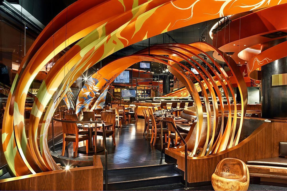 """The dramatic interior and """"swirling ribbons"""" design feature at SushiSamba."""