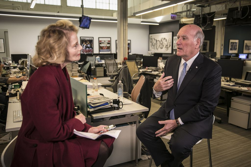 Mayoral candidate Bill Daley is interviewed by reporter Fran Spielman in the Sun-Times newsroom Friday, October 26, 2018.   Rich Hein/Sun-Times