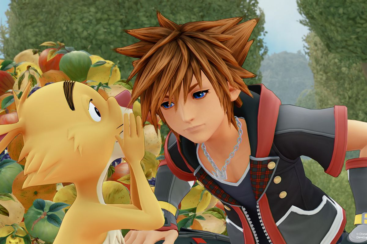 Rabbit from Winnie the Pooh whispers into Sora's ear in a screenshot from Kingdom Hearts 3.