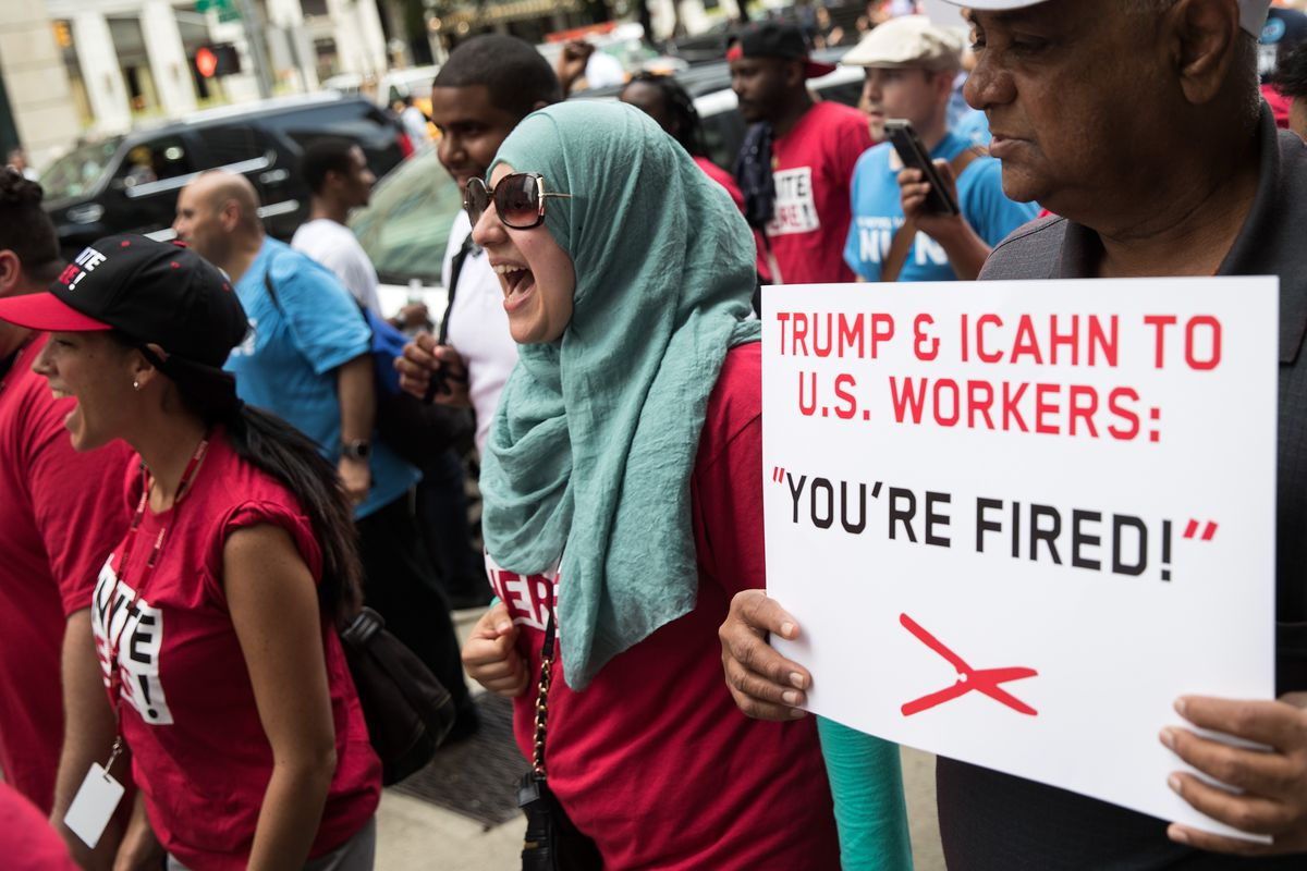 Trump Taj Mahal Casino Workers Protest Outside Of Carl Icahn's Office And March To Trump Tower