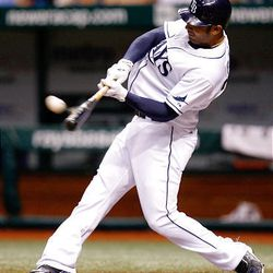 Tampa Bay Rays' Carlos Pena hits a solo home run in the second inning.