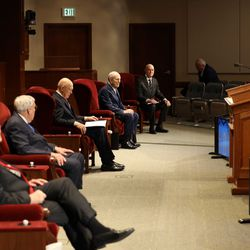 The 190th Annual General Conference of The Church of Jesus Christ of Latter-day Saints is being broadcast from a small auditorium in the Church Office Building on Temple Square on Saturday, April 4, 2020. Church leaders sit 6 feet apart due to COVID-19.
