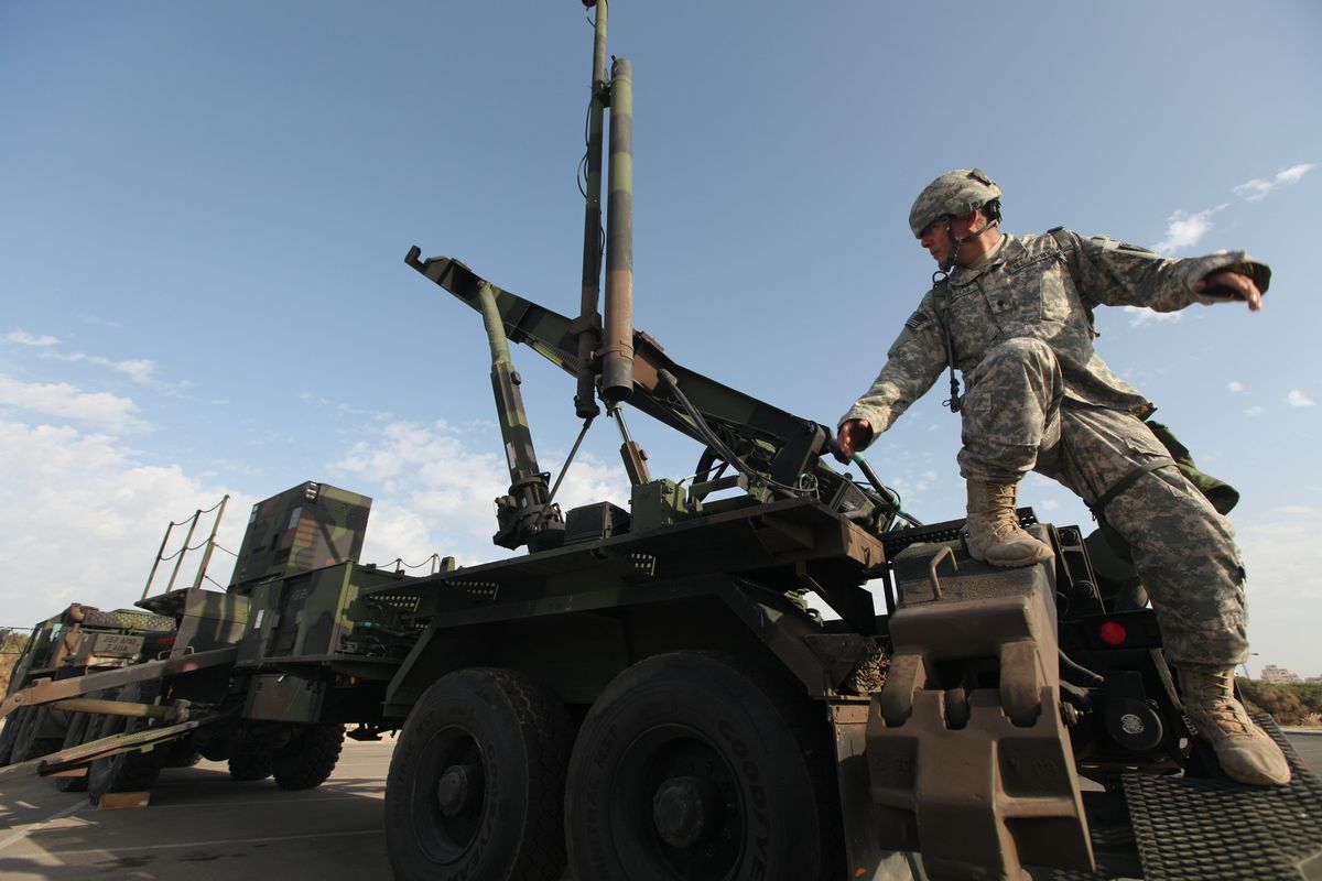 US Army soldiers participate in a joint Israeli-American military exercise at a location for Patriot missile batteries in Tel Aviv, Israel.
