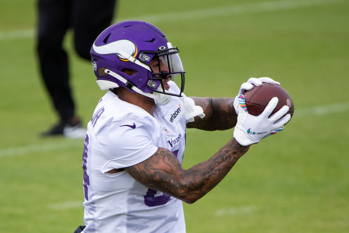 Minnesota Vikings tight end Irv Smith (84) at training camp at TCO Performance Center.