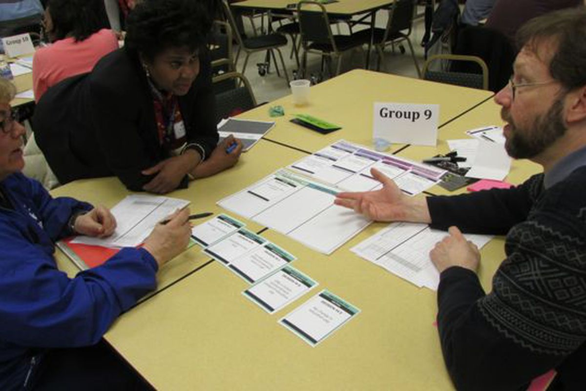In March, more than 150 IPS teachers assembled teacher compensation plans for a fictional school district from a variety of policy options as part of a TeachPlus event. (Scott Elliott)