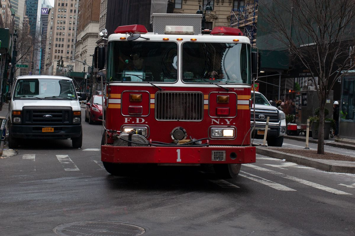 FDNY firefighters  respond to a scene in Midtown, Manhattan.