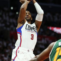 LA Clippers guard Chris Paul (3) shoots in the second half of game 7 of the first round NBA playoffs series between the Utah Jazz and Los Angeles Clippers at the Staples Center in Los Angeles on Sunday, April 30, 2017.