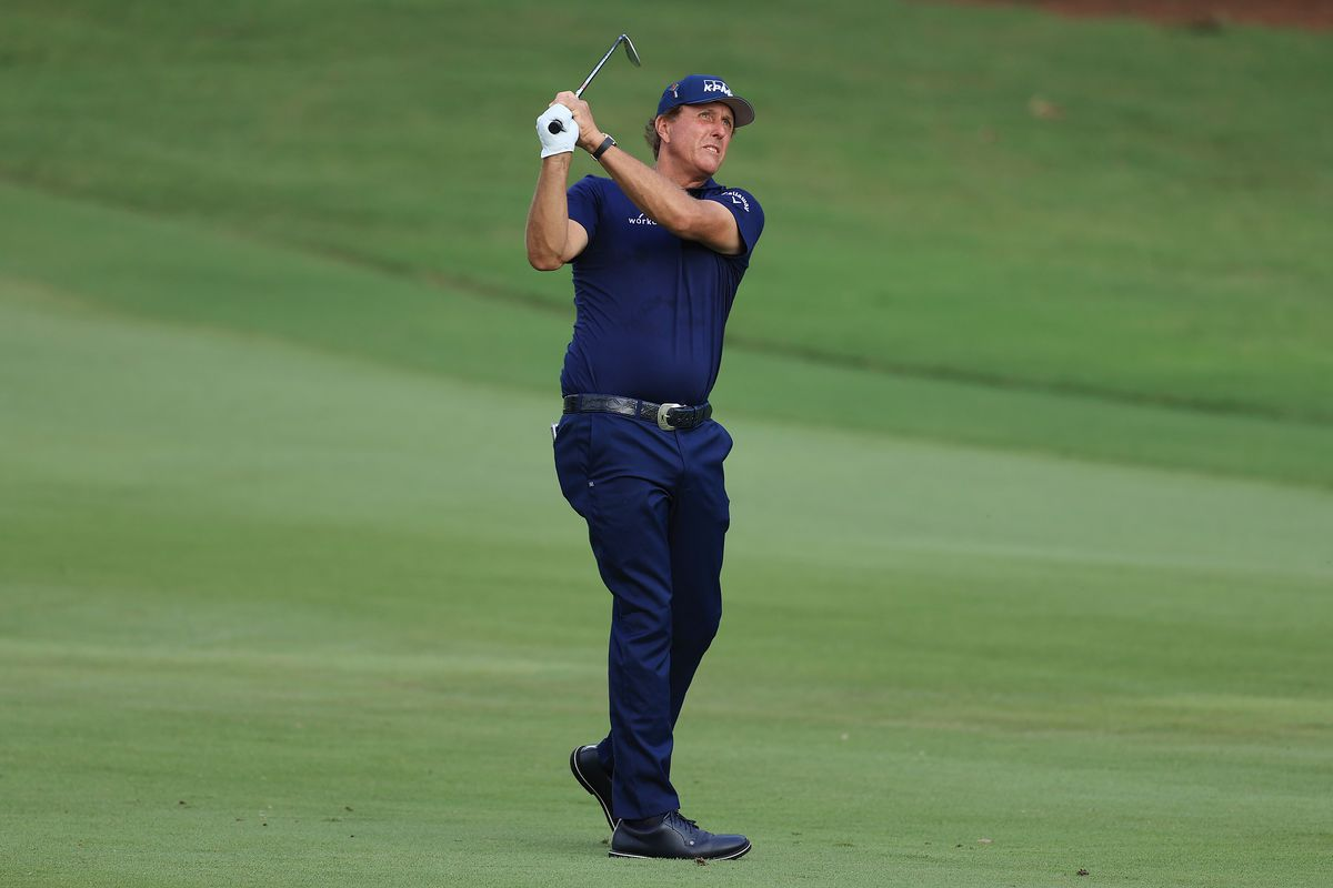 Phil Mickelson of the United States plays a shot on the tenth hole during the second round of the World Golf Championship-FedEx St Jude Invitational at TPC Southwind on July 31, 2020 in Memphis, Tennessee.
