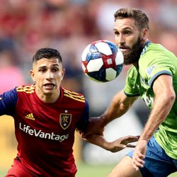 Real Salt Lake forward Jefferson Savarino (7) and Seattle Sounders defender Jonathan Campbell (3) run down the ball as RSL and Seattle play at Rio Tinto Stadium in Sandy, Utah, on Wednesday, Aug. 14, 2019.